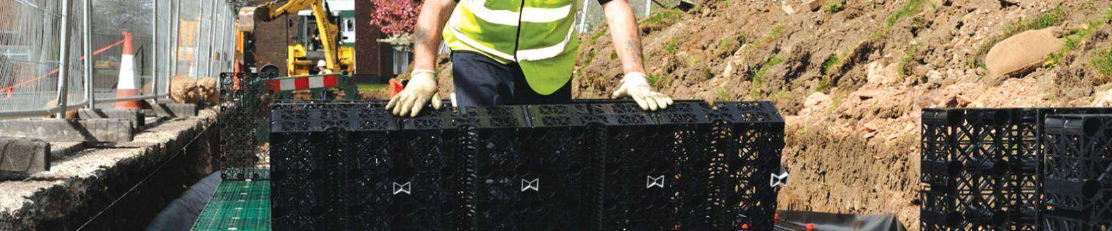 The Permavoid system is designed to be used in place of traditional aggregate sub-base